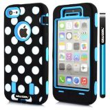Apple Iphone 5C Case Silicone Polka Dot 2in1 Hybrid High Impact Protective Case For Apple Iphone 5C(Sky Blue)