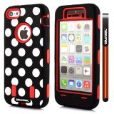 Apple Iphone 5C Case Silicone Polka Dot 2in1 Hybrid High Impact Protective Case For Apple Iphone 5C(Red)