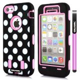 Apple Iphone 5C Case Silicone Polka Dot 2in1 Hybrid High Impact Protective Case For Apple Iphone 5C(Pink)