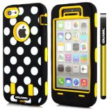 Apple Iphone 5C Case Silicone Polka Dot 2in1 Hybrid High Impact Protective Case For Apple Iphone 5C(Yellow)