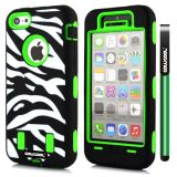 Apple Iphone 5C Case Silicone With Hard Pc Zebra 2in1 Hybrid High Impact Protective For Apple Iphone 5C Case(Green)