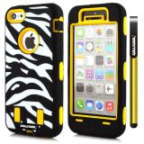 Apple Iphone 5C Case Silicone With Hard Pc Zebra 2in1 Hybrid High Impact Protective For Apple Iphone 5C Case(Yellow)