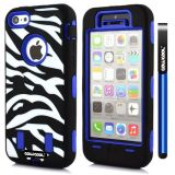 Apple Iphone 5C Case Silicone With Hard Pc Zebra 2in1 Hybrid High Impact Protective For Apple Iphone 5C Case(Blue)