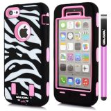 Apple Iphone 5C Case Silicone With Hard Pc Zebra 2in1 Hybrid High Impact Protective For Apple Iphone 5C Case(Pink)