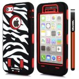 Apple Iphone 5C Case Silicone With Hard Pc Zebra 2in1 Hybrid High Impact Protective For Apple Iphone 5C Case(Red)