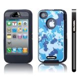 Apple Iphone 4 4S Case Silicone With Hard Pc Camo Digital Camo 2in1 Hybrid High Impact Protective Case For Apple Iphone 4 4S(Blue with Black)