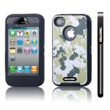 Apple Iphone 4 4S Case Silicone With Hard Pc Camo Digital Camo 2in1 Hybrid High Impact Protective Case For Apple Iphone 4 4S(Green with Black)
