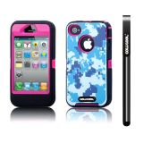 Apple Iphone 4 4S Case Silicone With Hard Pc Camo Digital Camo 2in1 Hybrid High Impact Protective Case For Apple Iphone 4 4S(Blue with Pink)