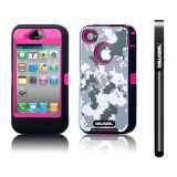 Apple Iphone 4 4S Case Silicone With Hard Pc Camo Digital Camo 2in1 Hybrid High Impact Protective Case For Apple Iphone 4 4S(Grey with Pink)