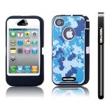 Apple Iphone 4 4S Case Silicone With Hard Pc Camo Digital Camo 2in1 Hybrid High Impact Protective Case For Apple Iphone 4 4S(Blue with White)