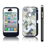 Apple Iphone 4 4S Case Silicone With Hard Pc Camo Digital Camo 2in1 Hybrid High Impact Protective Case For Apple Iphone 4 4S(Green with White)