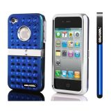 Apple Iphone 4 4S Case Hard Pc Projection Array And Sag Arrays Double Layer Protective Case For Apple Iphone 4 4S(Blue)
