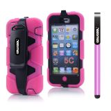 Apple Iphone 5C Case Silicone With Hard Pc Double Color Clips Protective Case For Apple Iphone 5C(Rose Pink)
