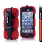 Apple Iphone 5C Case Silicone With Hard Pc Double Color Clips Protective Case For Apple Iphone 5C(Red)