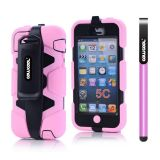 Apple Iphone 5C Case Silicone With Hard Pc Double Color Clips Protective Case For Apple Iphone 5C(Pink)