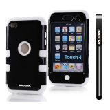 Apple Itouch 4 Case Silicone With Hard Pc Bright 2in1 Hybrid High Impact Protective Case For Itouch 4(Black with White)