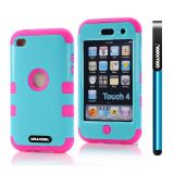 Apple Itouch 4 Case Silicone With Hard Pc Bright 2in1 Hybrid High Impact Protective Case For Itouch 4(Sky Blue with Pink)