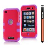 Apple Itouch 4 Case Silicone With Hard Pc Bright 2in1 Hybrid High Impact Protective Case For Itouch 4(Red with Purple)