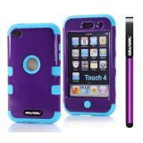 Apple Itouch 4 Case Silicone With Hard Pc Bright 2in1 Hybrid High Impact Protective Case For Itouch 4(Purple with Blue)
