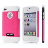 Apple Iphone 4 Case Rubber Leather Texture Single Layer Protective Case For Apple Iphone 4(Pink with White)