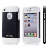 Apple Iphone 4 Case Rubber Leather Texture Single Layer Protective Case For Apple Iphone 4(Black with White)