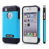 Apple Iphone 4 Case Rubber Leather Texture Single Layer Protective Case For Apple Iphone 4(Sky Blue with Black)
