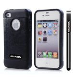 Apple Iphone 4 Case Rubber Leather Texture Single Layer Protective Case For Apple Iphone 4(Black with Black)