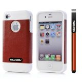 Apple Iphone 4 Case Rubber Leather Texture Single Layer Protective Case For Apple Iphone 4(Brown with White)