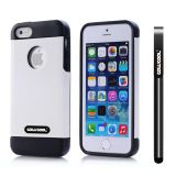 Apple Iphone 5 5S Case Pu Leather Crazy Maghreb Single Layer Protective Case For Apple Iphone 5 5S(White with Black)