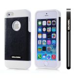 Apple Iphone 5 5S Case Pu Leather Crazy Maghreb Single Layer Protective Case For Apple Iphone 5 5S(Black with White)