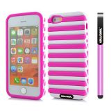 Apple Iphone 5 5S Case Hard Pc Stripe Ladder 2in1 Hybrid High Impact Protective Case For Apple Iphone 5 5S(Pink with White)