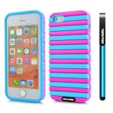 Apple Iphone 5 5S Case Hard Pc Stripe Ladder 2in1 Hybrid High Impact Protective Case For Apple Iphone 5 5S(Sky Blue with Pink)
