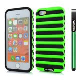Apple Iphone 5 5S Case Hard Pc Stripe Ladder 2in1 Hybrid High Impact Protective Case For Apple Iphone 5 5S(Green with Black)