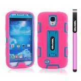Samsung 9500 Galaxy S4 Case Silicone With Hard Pc Double Color 2in1 Hybrid High Impact With Kickstand Protective Case For Samsung 9500 Galaxy S4(Pink with Sky Blue)