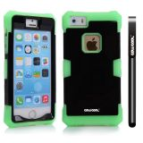 Apple Iphone 5 5S Case Luminous Silicone With Hard Pc Double Color 2in1 Hybrid High Impact Protective Case For Apple Iphone 5 5S(Green with Black)