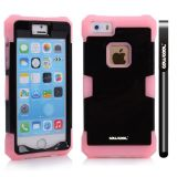Apple Iphone 5 5S Case Luminous Silicone With Hard Pc Double Color 2in1 Hybrid High Impact Protective Case For Apple Iphone 5 5S(Pink with Black)