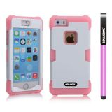 Apple Iphone 5 5S Case Luminous Silicone With Hard Pc Double Color 2in1 Hybrid High Impact Protective Case For Apple Iphone 5 5S(Pink with White)