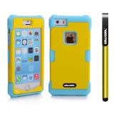 Apple Iphone 5 5S Case Luminous Silicone With Hard Pc Double Color 2in1 Hybrid High Impact Protective Case For Apple Iphone 5 5S(Sky Blue with Yellow)