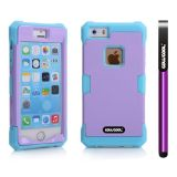 Apple Iphone 5 5S Case Luminous Silicone With Hard Pc Double Color 2in1 Hybrid High Impact Protective Case For Apple Iphone 5 5S(Sky Blue with Purple)