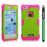 Apple Iphone 5 5S Case Luminous Silicone With Hard Pc Double Color 2in1 Hybrid High Impact Protective Case For Apple Iphone 5 5S(Pink with Green)