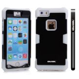 Apple Iphone 5 5S Case Luminous Silicone With Hard Pc Double Color 2in1 Hybrid High Impact Protective Case For Apple Iphone 5 5S(White with Black)