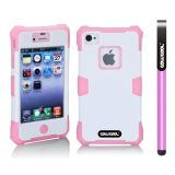 Apple Iphone 4 4S Case Luminous Silicone With Hard Pc Double Color 2in1 Hybrid High Impact Protective Case For Apple Iphone 4 4S(Pink with White)