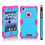 Apple Iphone 4 4S Case Luminous Silicone With Hard Pc Double Color 2in1 Hybrid High Impact Protective Case For Apple Iphone 4 4S(Rose Pink with Sky Blue)