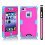 Apple Iphone 4 4S Case Luminous Silicone With Hard Pc Double Color 2in1 Hybrid High Impact Protective Case For Apple Iphone 4 4S(Sky Blue with Rose Pink)