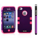 Apple Iphone 4 4S Case Silicone With Hard Pc Double Color 2in1 Hybrid High Impact Protective Case For Apple Iphone 4 4S(Black with Hot Pink)