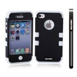 Apple Iphone 4 4S Case Silicone With Hard Pc Double Color 2in1 Hybrid High Impact Protective Case For Apple Iphone 4 4S(Black with White)