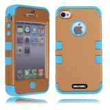 Apple Iphone 4 4S Case Silicone With Hard Pc Double Color 2in1 Hybrid High Impact Protective Case For Apple Iphone 4 4S(Light brown with Sky Blue)