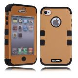 Apple Iphone 4 4S Case Silicone With Hard Pc Double Color 2in1 Hybrid High Impact Protective Case For Apple Iphone 4 4S(Light brown with Black)