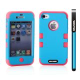 Apple Iphone 4 4S Case Silicone With Hard Pc Double Color 2in1 Hybrid High Impact Protective Case For Apple Iphone 4 4S(Sky Blue with Rose Pink)