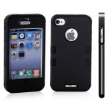 Apple Iphone 4 4S Case Silicone With Hard Pc Double Color 2in1 Hybrid High Impact Protective Case For Apple Iphone 4 4S(Black with Black)